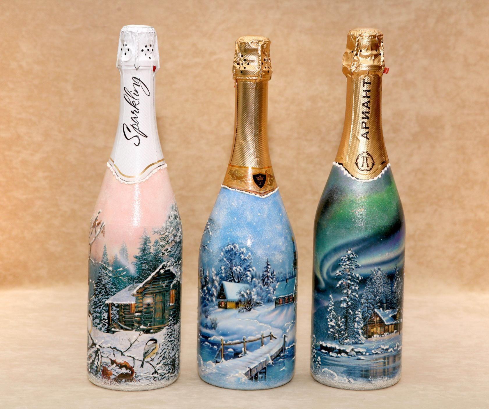 декупаж бутылок шампанского открыткой консистенции маслянистая