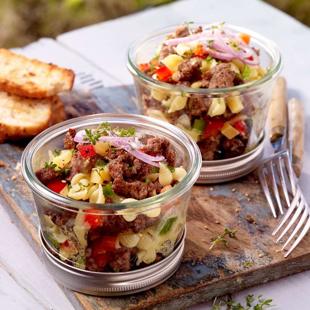 Photo of Minced meat salad in a glass