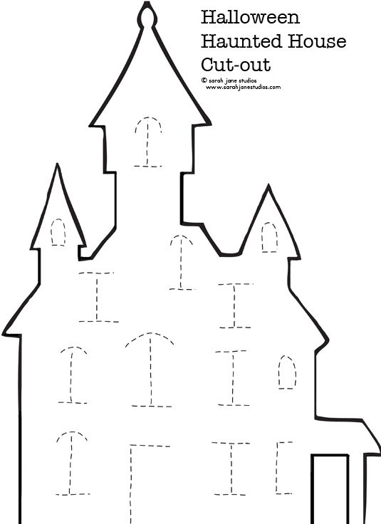 haunted house cut out From  http://www.iheartcraftythings.com/search/label/Halloween