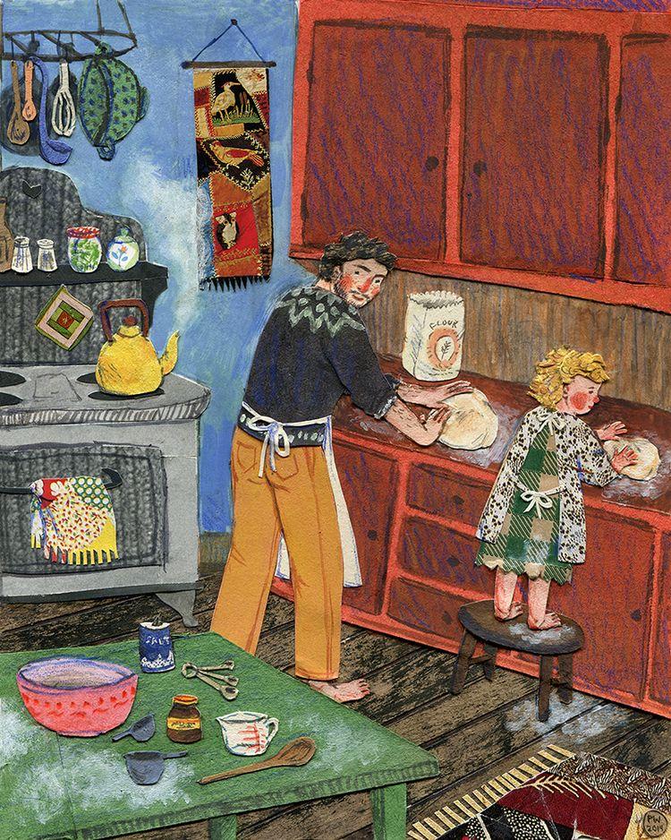 Bread.Watercolor, collage, colored pencil. Phoebe Wahl 2014.
