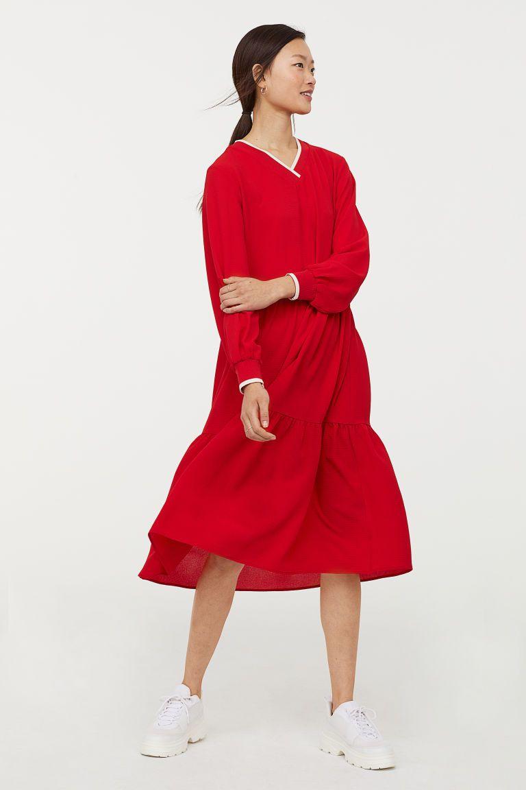rød omslagskjole