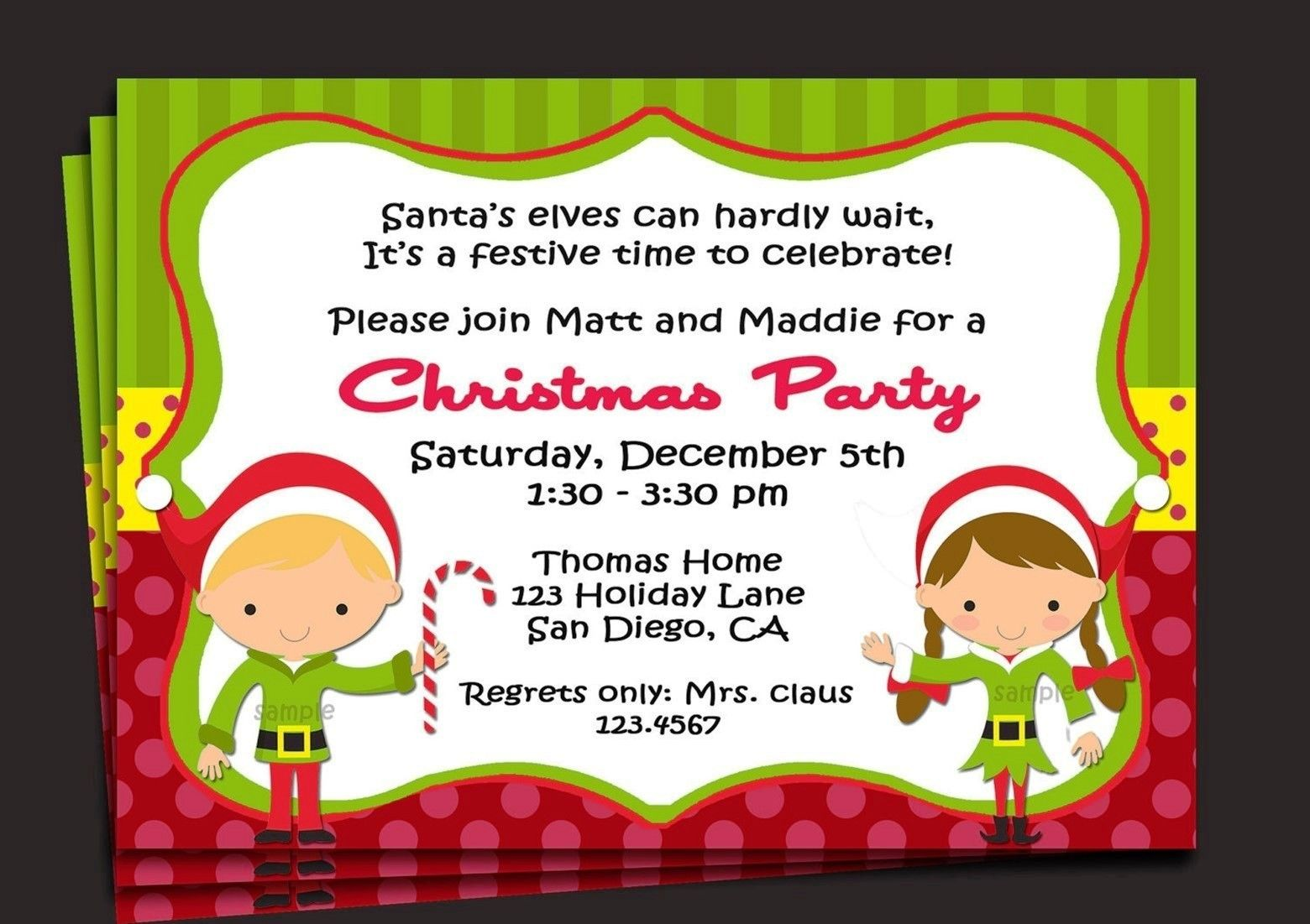 Sample Invitation For Christmas Party  Baby Showers
