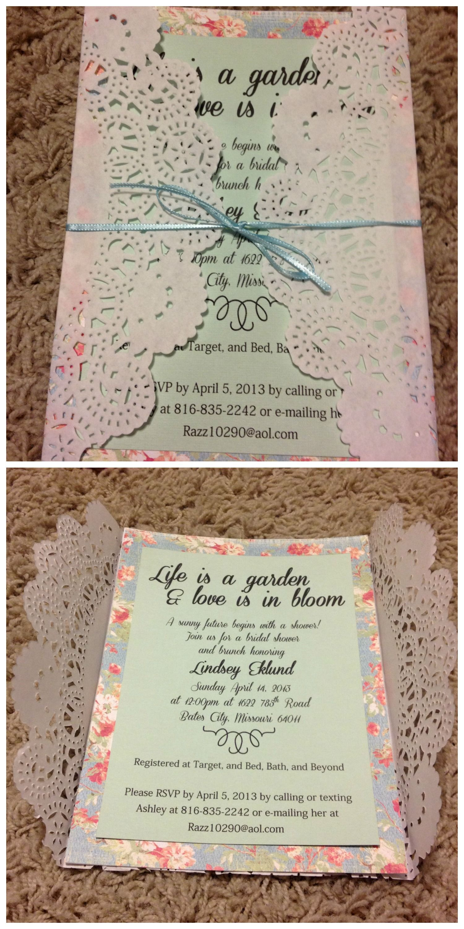 Bridal Shower Invitation Vintage Garden Party Theme Paper Doily Handmade
