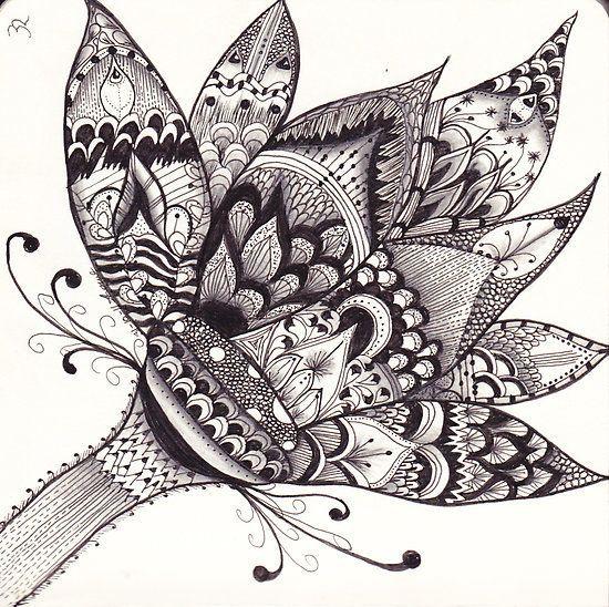 Doodle Ideas   Zentangle Lotus Flower by Alycia Rowe   Art  Doodle Ideas