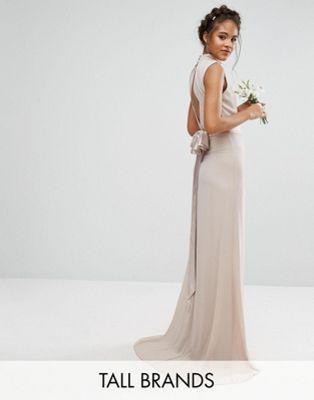 TFNC Tall High Neck Maxi Bridesmaid Dress With Bow Back 1dbe70c0d