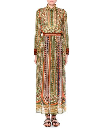 VALENTINO Long-Sleeve Tribal-Ribbon Blouse, Orange/Green. #valentino #cloth #