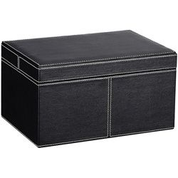 Ebony Faux Leather Small Storage Box With Lid
