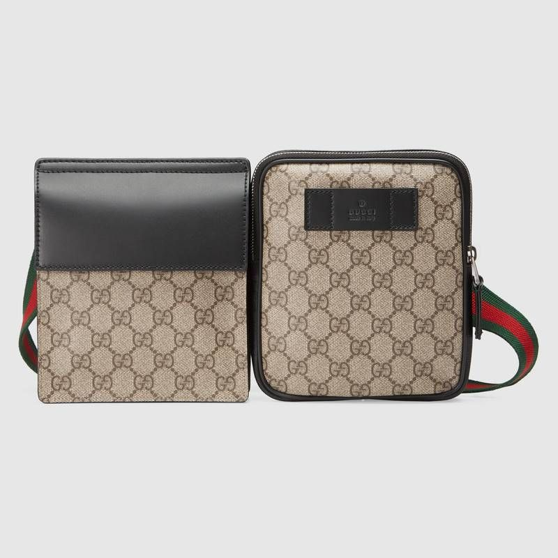 0b408c9e7976cb Gucci GG Supreme belt bag ($505) ❤ liked on Polyvore featuring men's  fashion, men's bags, mens leather waist bags, men… | Clothes! Clothes!!  Clothes!!!