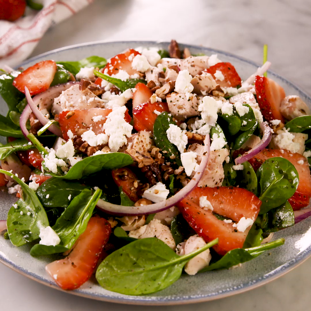 Strawberry Spinach Salad Even socalled spinach haters will love this recipe The combination of sweet strawberries herb chicken creamy goat cheese and spicy red onions mak...