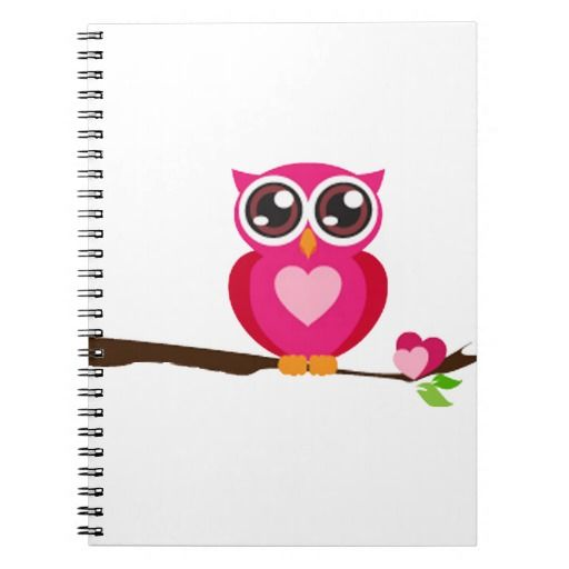Pink Owl on Limb Spiral Note Book