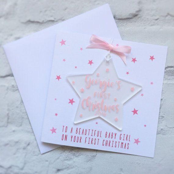 Première carte de Noël de bébé & d'acrylique / plexi arbre