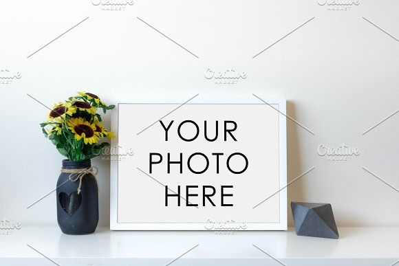 White Frame With Sunflowers & Gem | Mock up, Design inspiration and ...
