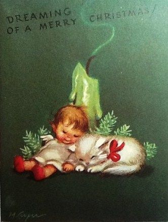 Dreaming of a Merry Christmas - adorable vintage kitten, baby angel