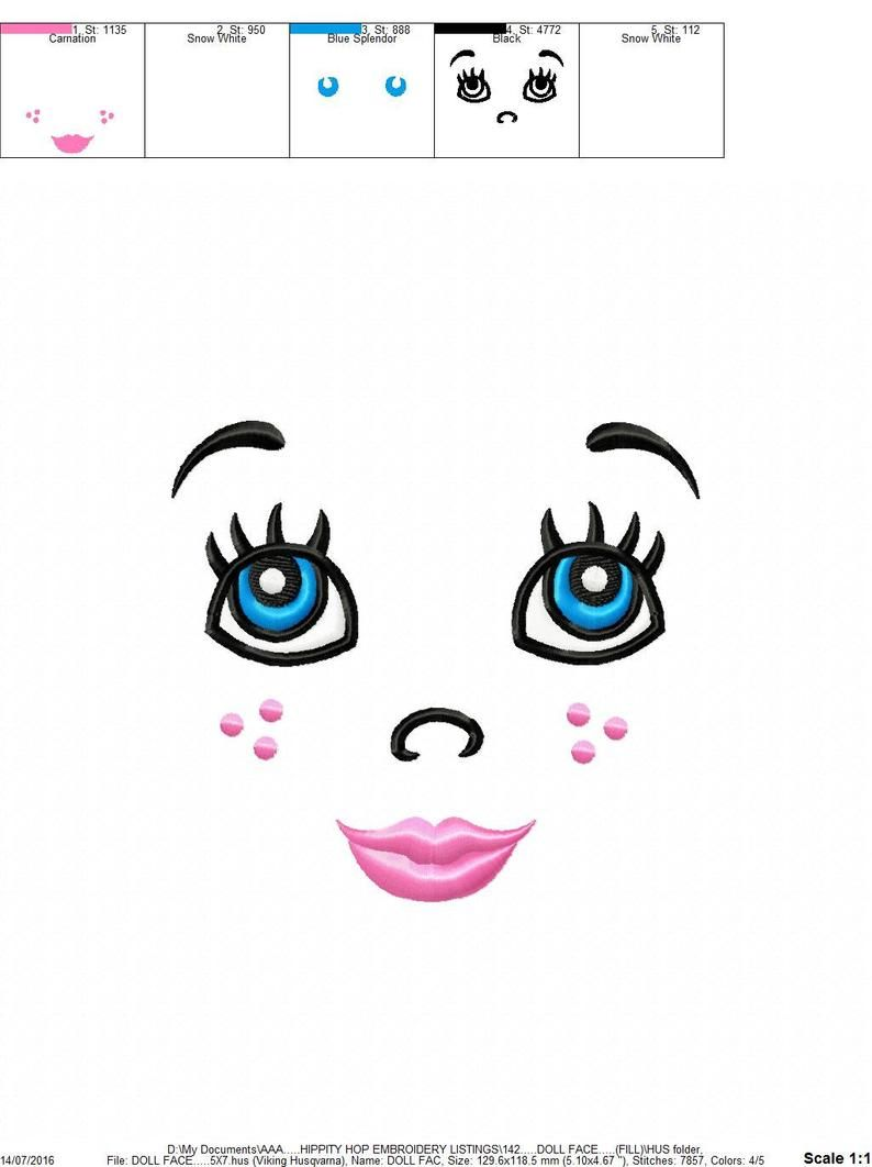 Doll Face...Instant Download...Pattern Fill Machine