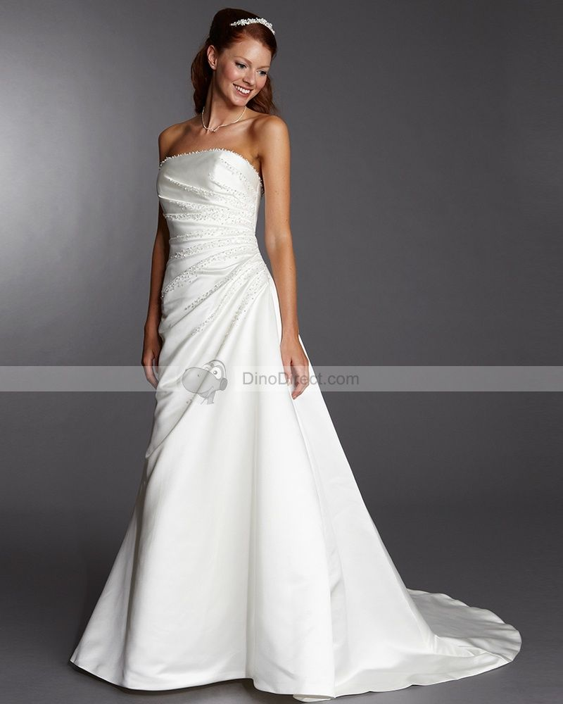 Wedding dress without train  Satin Beading Sleeveless Strapless Brush Train A Line Wedding Dress