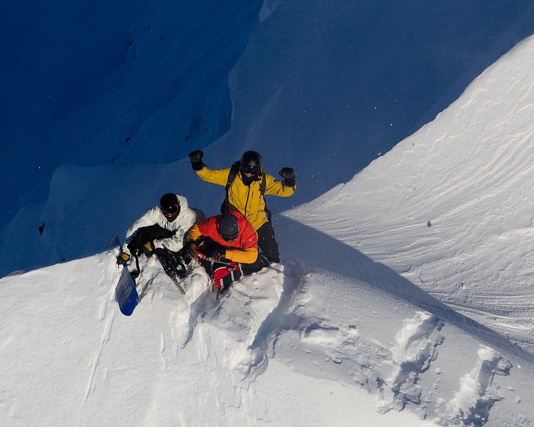 @yomanueldiaz @j_robble and @lucasdebari getting hyped moments after being dropped off by the heli in Haines AK. Photo: @andrew_miller #twsnow