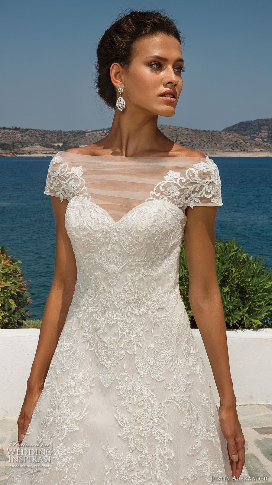 4adbf86e24f justin alexander 2018 bridal cap sleeves illusion bateau sweetheart  neckline full embellishment romantic a line wedding dress sheer button back  chapel train ...