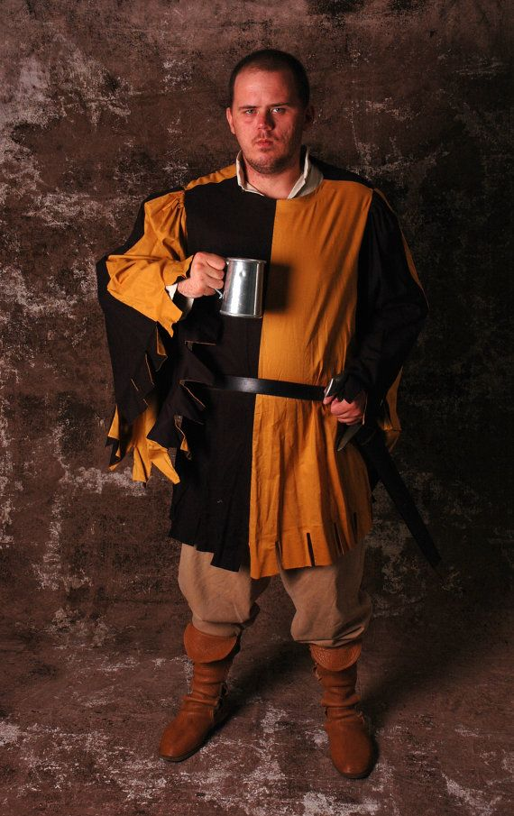 3208360076 Linen Houppelande with Square Dags (Party-Colored) Men s Medieval Costume  Garb SCA LARP Renaissance
