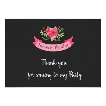 Blackboard Girls 1st Birthday Thank You Card