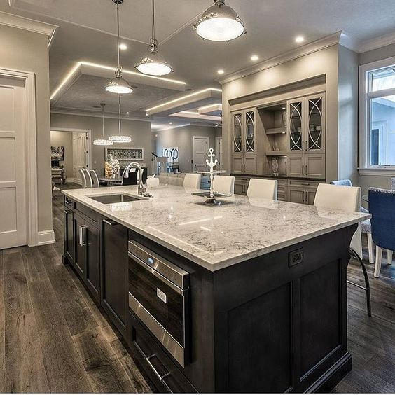 I Love The White Cabinets And Dark Island Home Remodeling Sweet