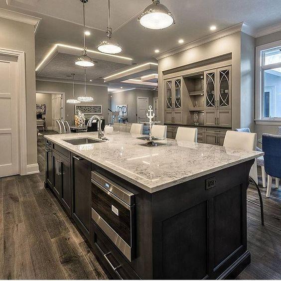 Download Wallpaper Kitchen Design White Cabinets Dark Island