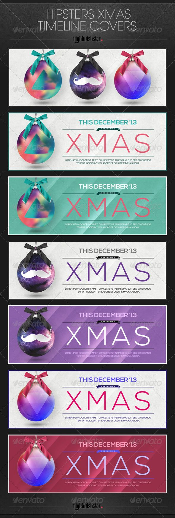 Hipster Christmas Facebook Timeline Covers — Photoshop PSD #stars #clean • Available here → https://graphicriver.net/item/hipster-christmas-facebook-timeline-covers/6321707?ref=pxcr