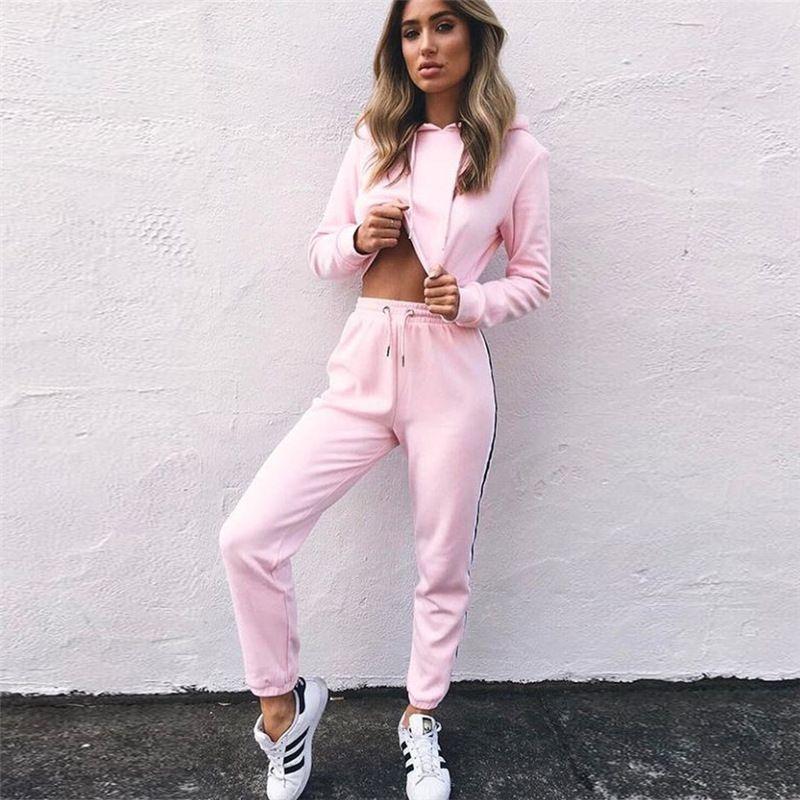 Femmes de Survêtements 2 Pièce Ensemble Rose Crop Top Et Pantalon mode 2018  Automne Casual Lady Tumblr À Manches Longues Hoodies Pantalon costume dans  ...