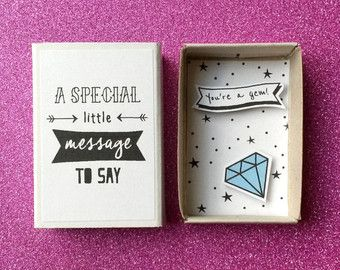 You're a gem - Diorama matchbox - Gemstone card - Blue diamond - Thank you note - Friendship gift - Gift for him - Encouragement card