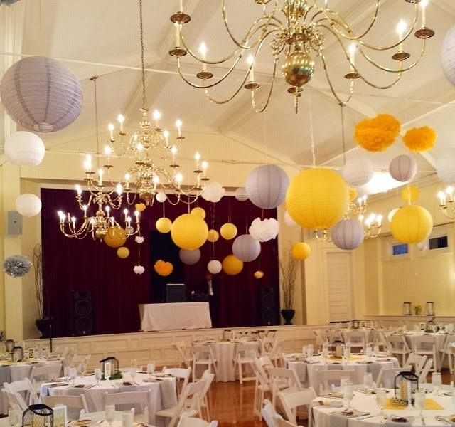 #GlendaleOH #GlendaleLyceum #WeddingsattheLyceum #weddingdecor #weddinginspiration #yellow #white #lanterns #receptionideas