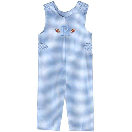 Our Rags Land Team Spirit Monogrammed Blue Checks Longall! Shop NOW at www.ragsland.com