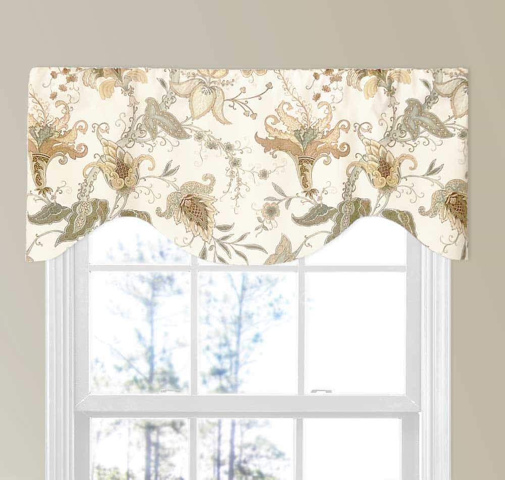 spa and light brown jacobean floral valance in 2019 shaped rh pinterest com