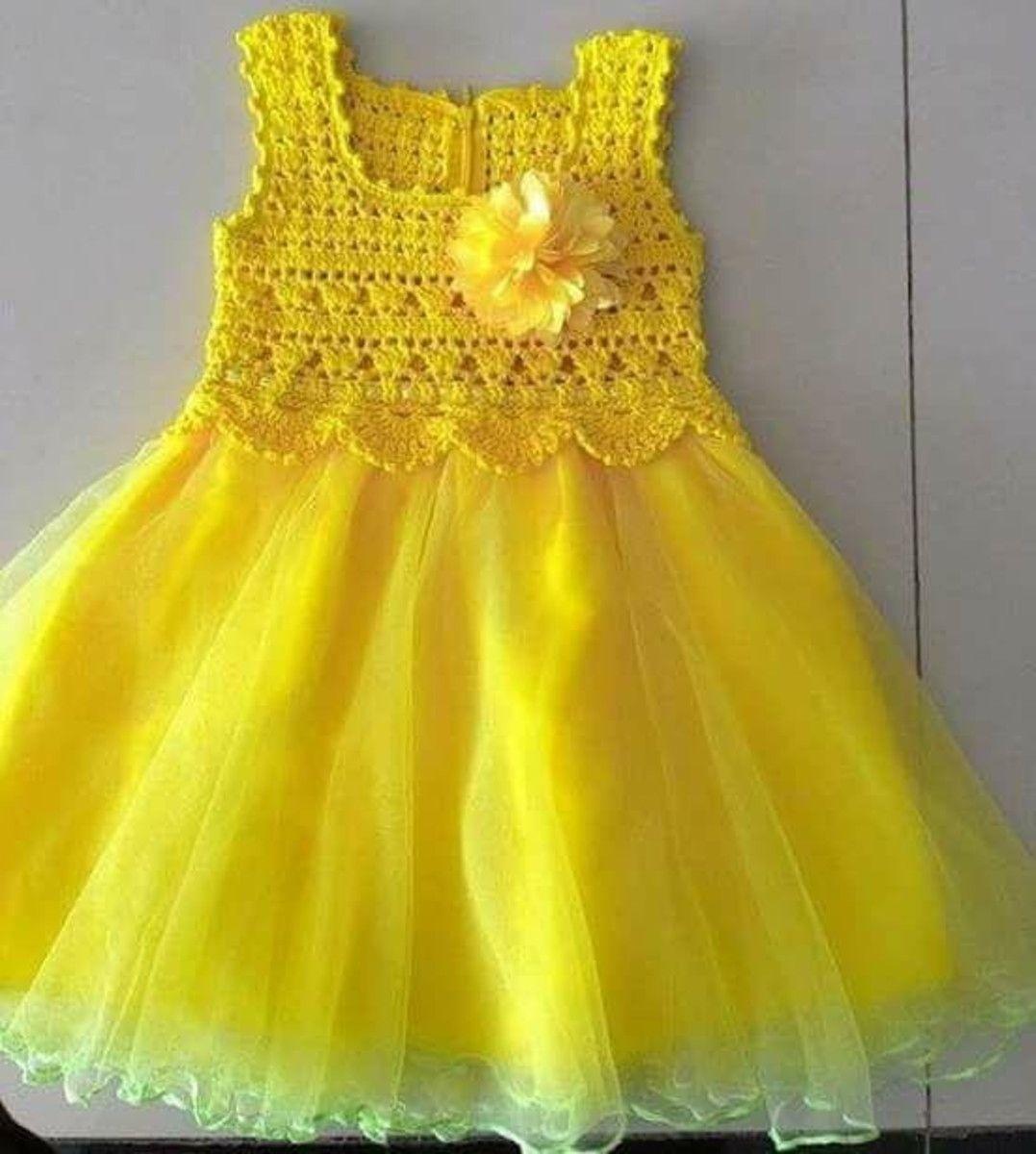 crochet dress at Elo7 in 2020 | Gehäkeltes babykleid ...