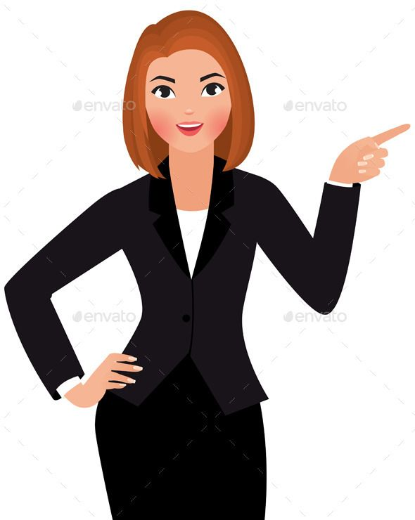 Young Business Woman Business Women Cartoon Illustration