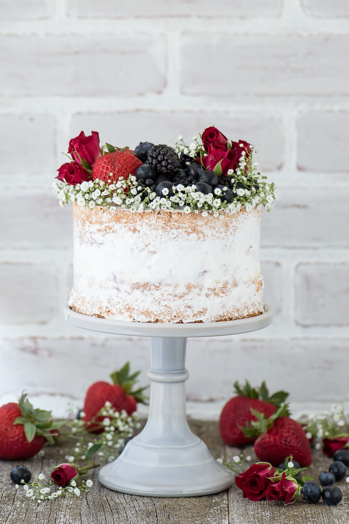 Naked berry ice cream cake recipe. A naked cake featuring 2 layers ...