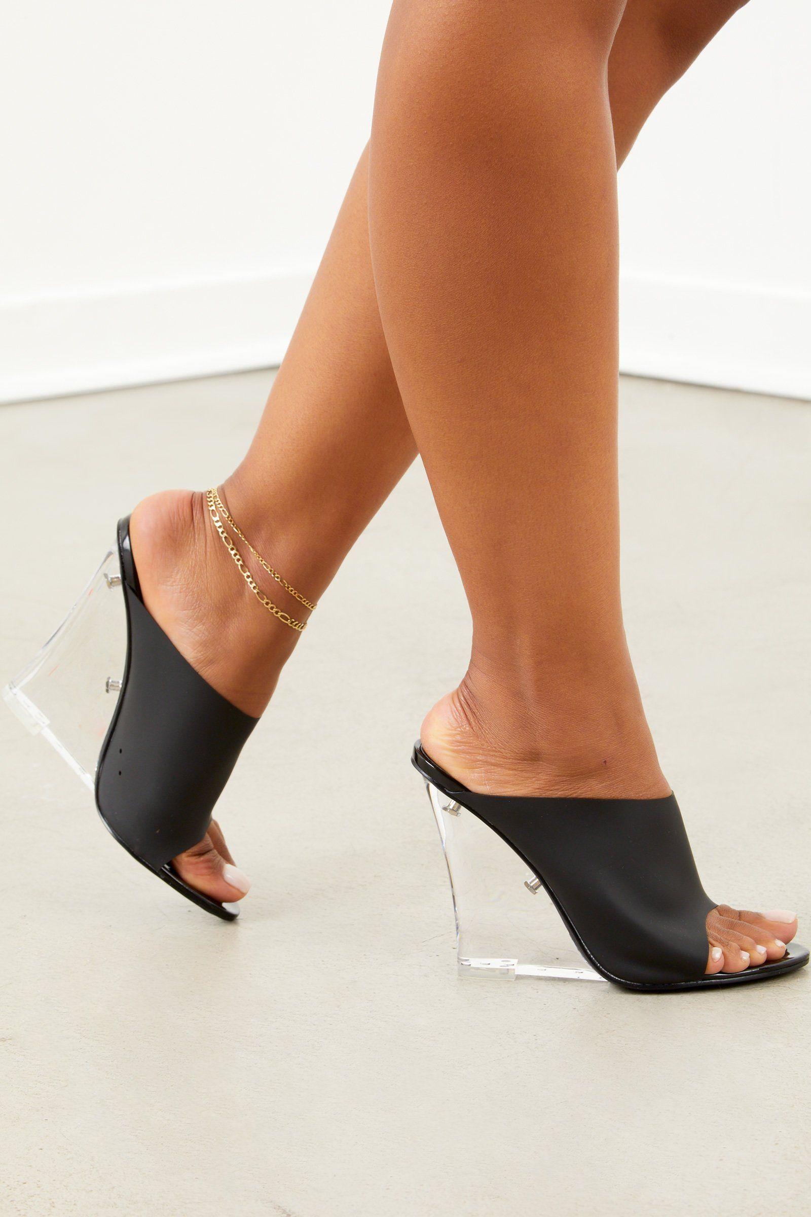 Clear Wedge Heel - Black   Heels, Heels