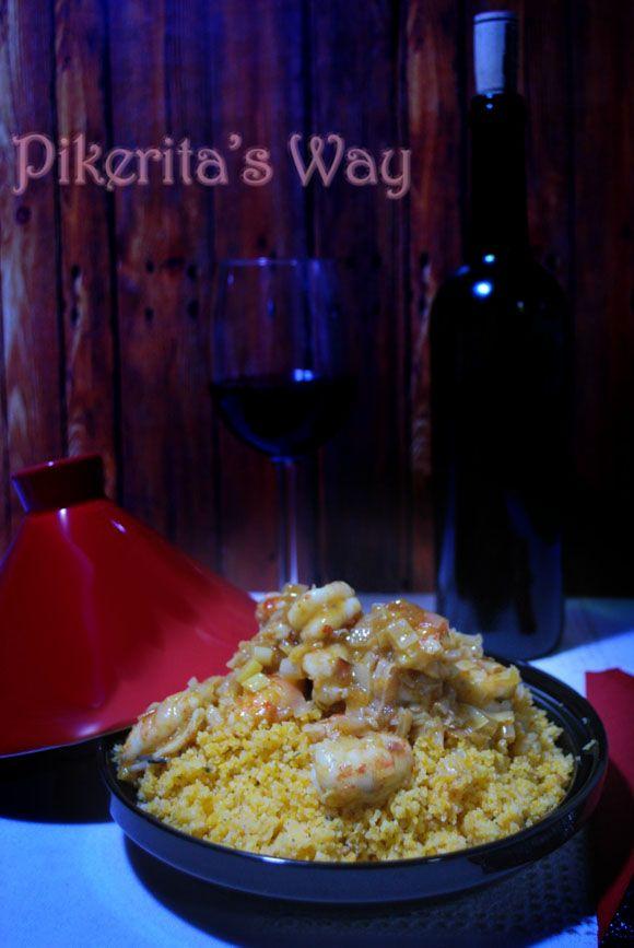 Pikerita's way: Cous cous #singluten con langostinos al curry