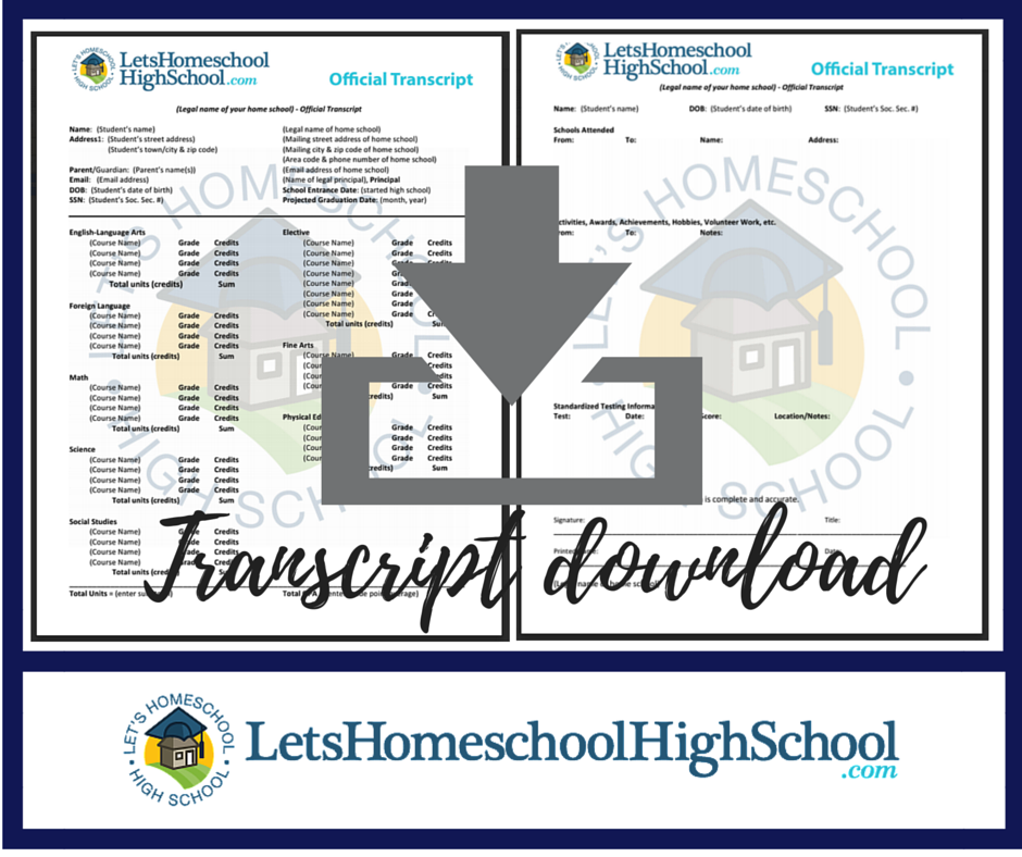 click the image below to download a pdf version of the transcript template the following template can either be printed out as is via pdf or