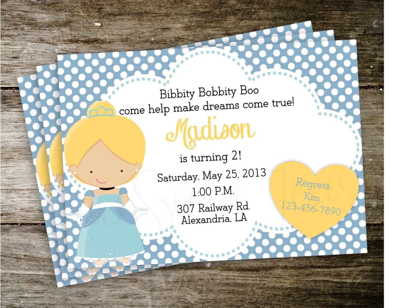 birthday party invitations printable%0A Cinderella Polka Dot Disney Princess Birthday Party Invitation Digital  Printable          via Etsy
