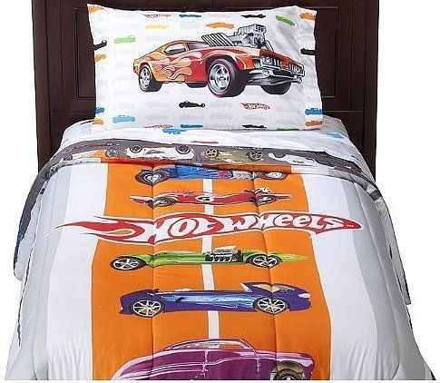 Beautiful Hot Wheels Bedding Sets | ... Hot Wheels Stripes Comforter   White (Twin