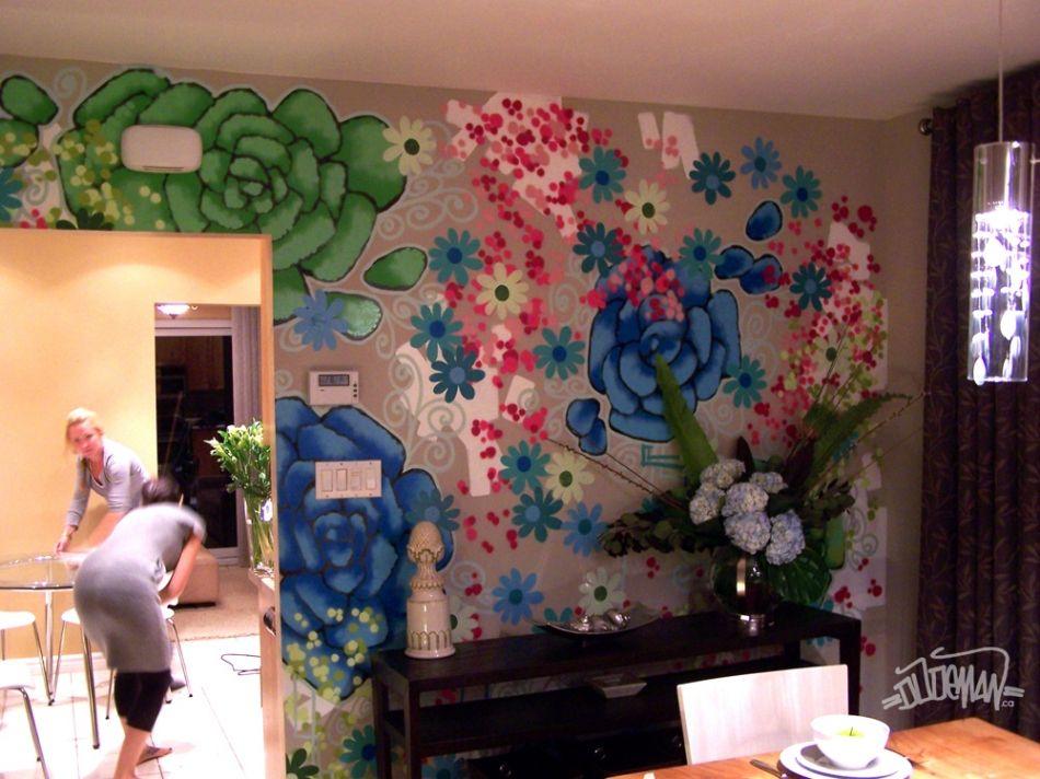 Bedrooms Interior graffiti wall for design reveal