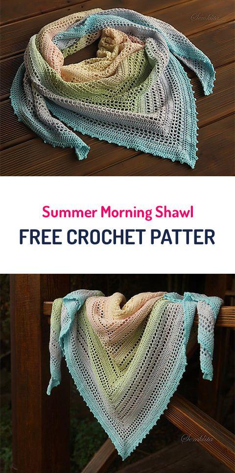 Summer Morning Shawl Free Crochet Pattern #crochet #yarn #style ...