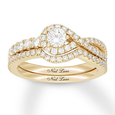 c22084ed9 Neil Lane Diamond Bridal Set 7/8 ct tw Round 14K Yellow Gold in 2019 ...