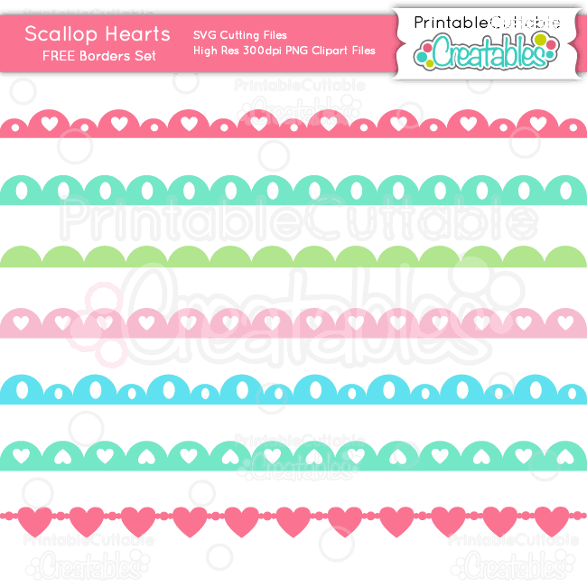 Scallop Hearts Borders Set Free SVG Cutting Files & Clipart for your Silhouette Cameo, Cricut or other electronic cutting machine that accepts SVG files. Also compatible with Adobe Illustrator CorelDraw, Inkscape, and other vector programs. PNG clipart compatible with most programs including Microsoft Word, PowerPoint, PS Elements, etc.