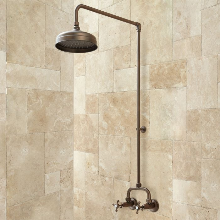 in chrome - Baudette Exposed Pipe Wall Mount Shower with Rainfall ...