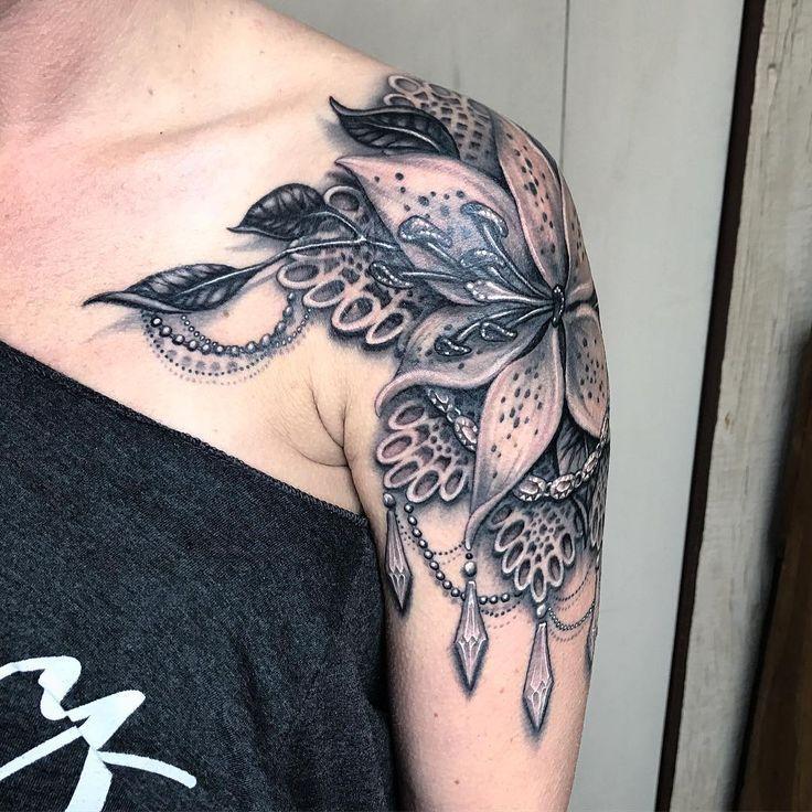 Shoulder Tattoo on Pinterest Lace tattoo Shoulder