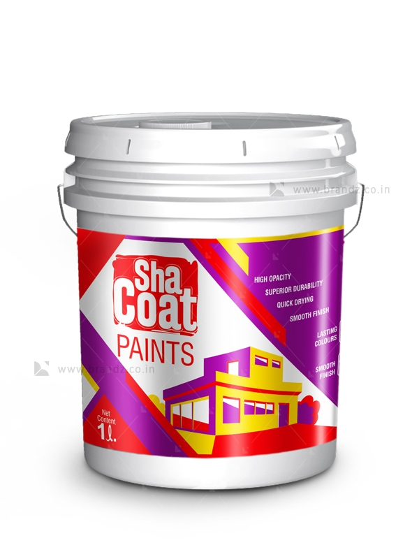 Shacoat Paint Bucket Label Brandz Co In Paint Buckets Smooth Finish Paint Label Design