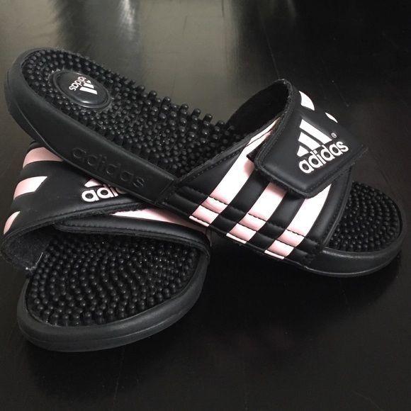 buy online 426c1 02071 Adidas Womens Slides Black light pink womens Adidas slides. Only worn once  w socks