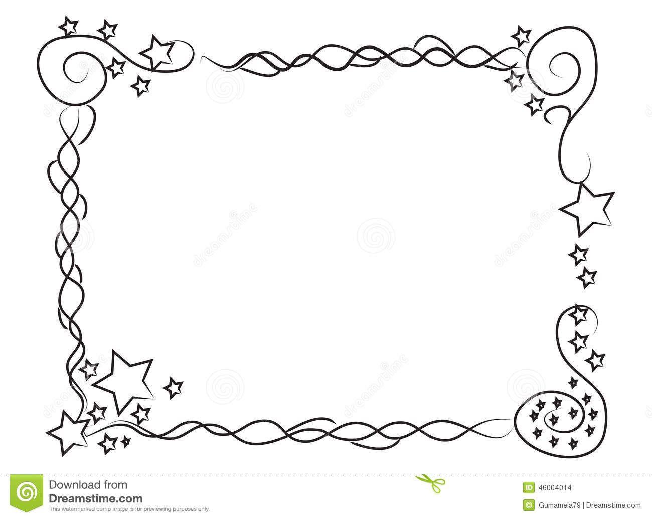 Decorative Frame Border Stars Spirals Hand Drawn Your