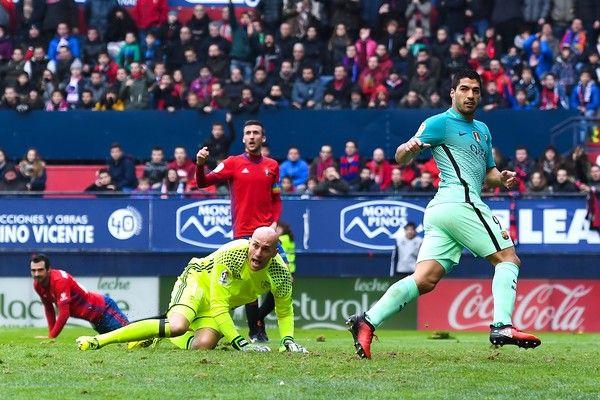 Luis Suarez of FC Barcelona celebrates after scoring the opening goal during the La Liga match between CA Osasuna and FC Barcelona at Sadar stadium on December 10, 2016 in Pamplona, Spain.