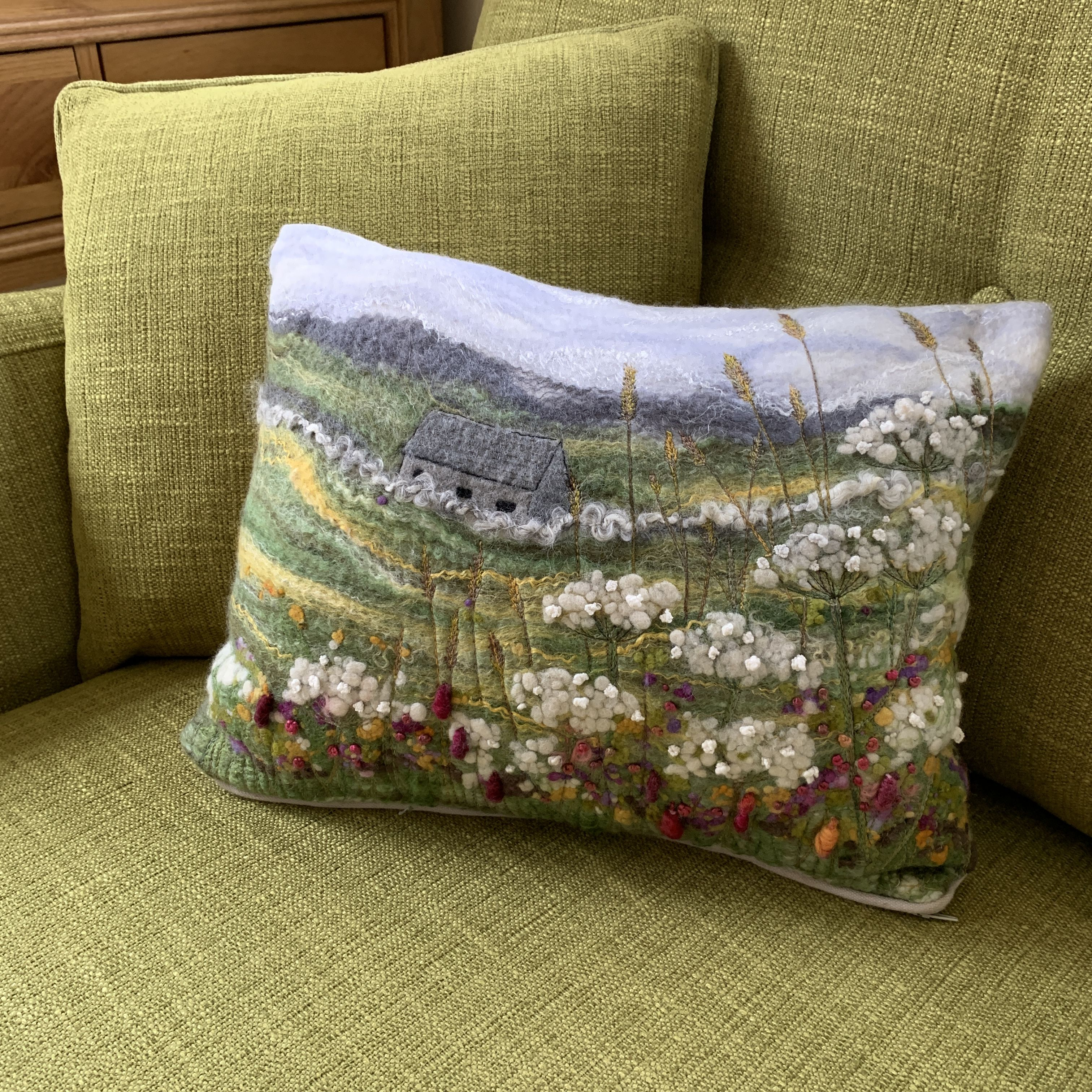 Wet Felted Landscape Cushion